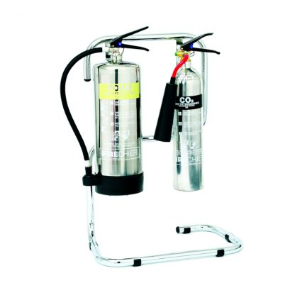 chrome double extinguisher stand