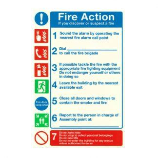 photo-luminescent pvc fire action notice