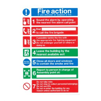 white pvc fire action notice