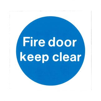 fire door keep clear self-adhesive sign