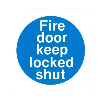 fire door keep locked shut self-adhesive sign