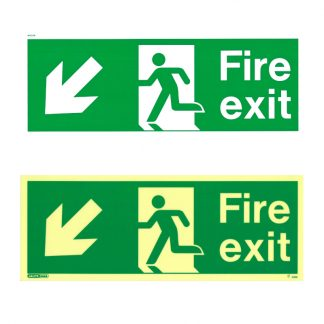 fire exit sign down left