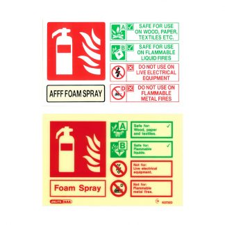 landscape foam fire extinguisher id sign