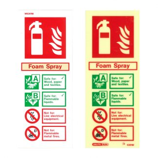 portrait foam fire extinguisher id sign