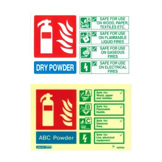 landscape powder fire extinguisher id sign