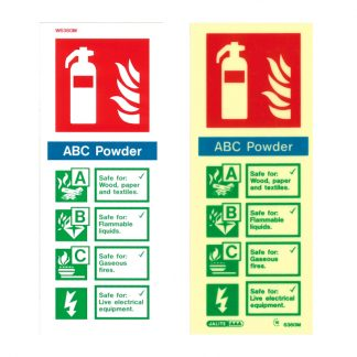 portrait powder fire extinguisher sign