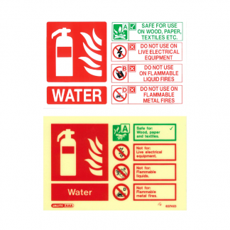 landscape water fire extinguisher id sign