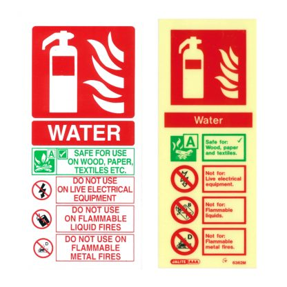 portrait water fire extinguisher id sign