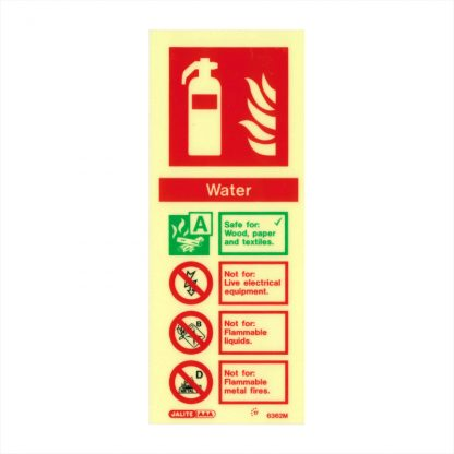 photo-luminescent portrait water fire extinguisher id sign