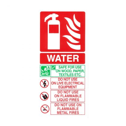white pvc portrait water fire extinguisher id sign