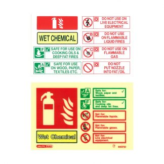 landscape wet chemical fire extinguisher id sign