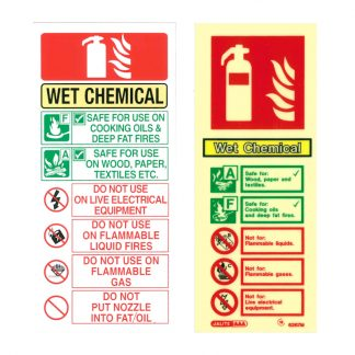 portrait wet chemical fire extinguisher sign