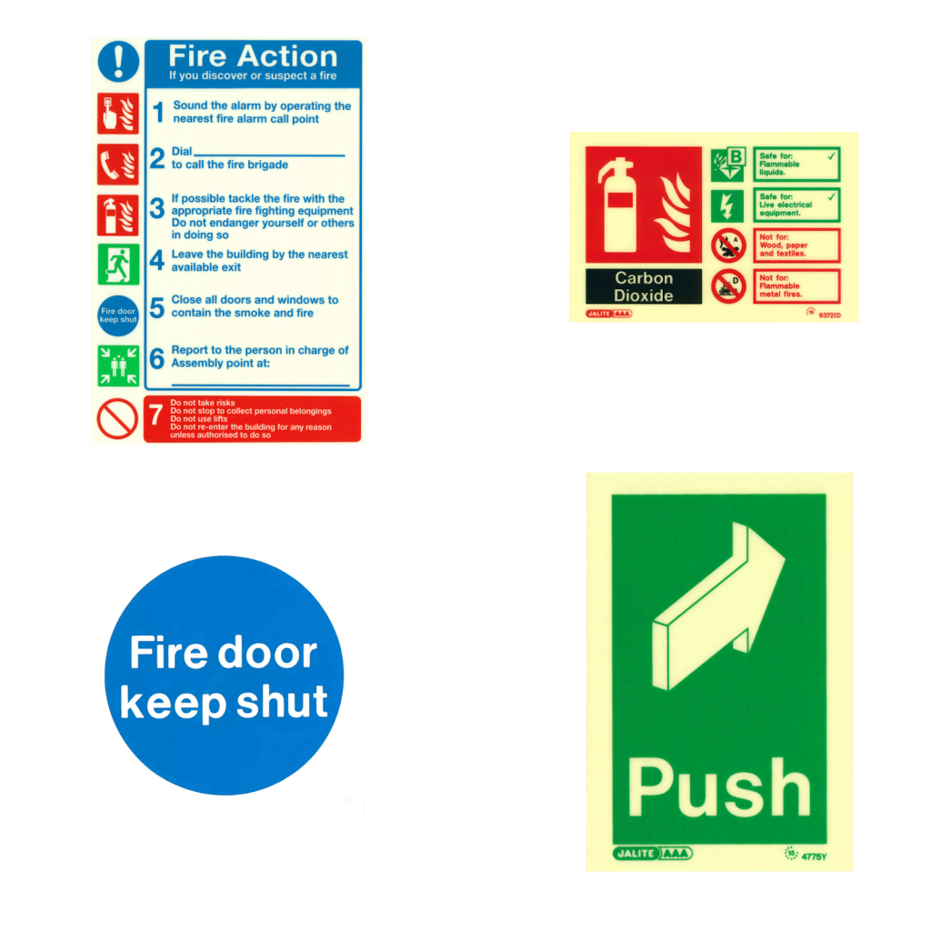Examples of fire action, fire door and extinguisher signs