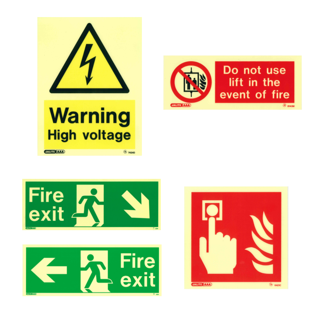 Examples of fire exit, fire alarm, warning and prohibition signs.