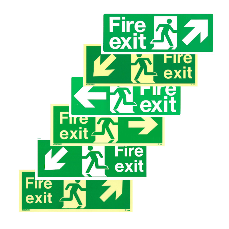 photo-luminescent and white pvc fire exit signs