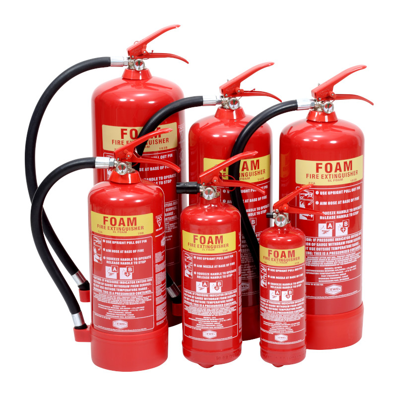six foam fire extinguishers in different sizes
