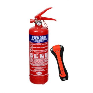1kg ABC dry powder fire extinguisher and emergency lifehammer